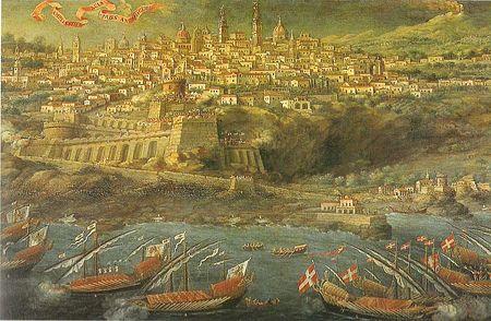 Il Passaggio della flotta di don Martino De Redin, Gran Maestro dell'Ordine Gerosolimitano al largo della città (G.Platania, 1657, Pinacoteca Zelantea)